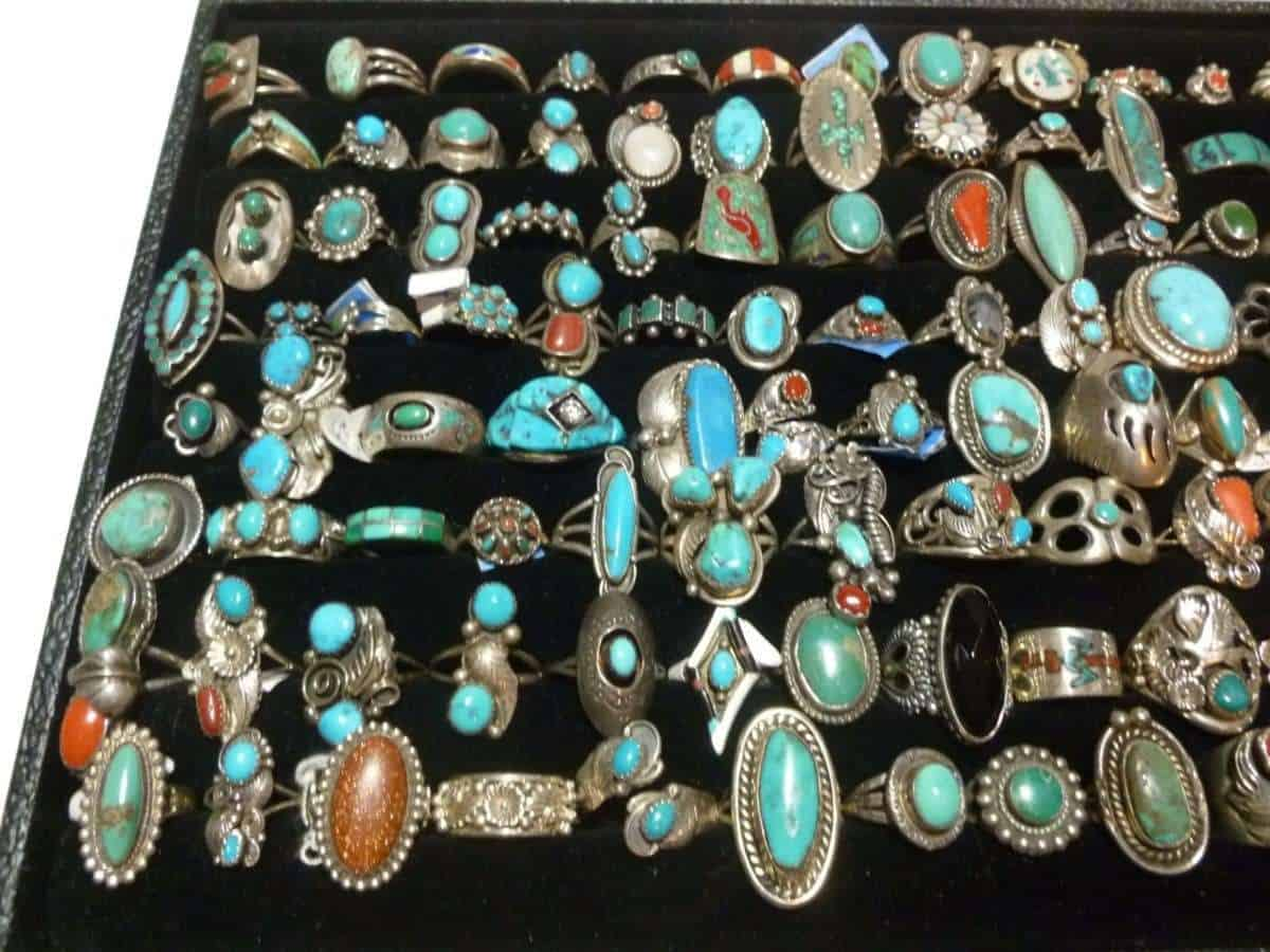 LOT NATIVE AMERICAN NAVAJO MEXICAN 560 STERLING SILVER TURQUOISE CORAL RING S8